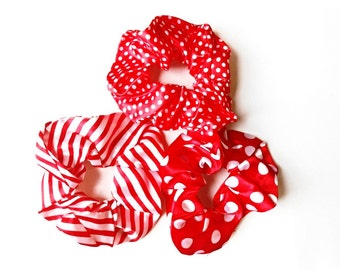 Hair Scrunchies 3 pieces Set Red Silk Satin Polka Dots Ponytail Holder, Red White Stripes Fabric Pony Tail Wrap, Hair Ties Gift for Her