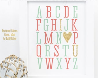 Alphabet ABC I Love You - Coral Mint Gold Glitter Heart Printable Baby Girl Room Nursery Decor Wall Art Baby Shower Birthday Decoration Sign