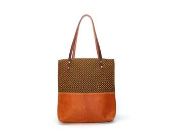 Summer Market Bag - Orange Leather Tote Bag - Leather Market Tote - Leather Boho Tote Bag