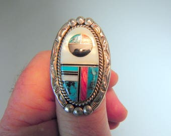 vintage Zuni native American Indian sterling silver & turquoise ring