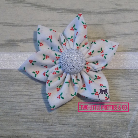 Large Holly Fabric Flower Headband | Baby Girl | hand sewn