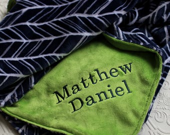 Baby Blankets,  Personalized Baby Blanket with Name, Navy Herringbone Baby Blanket, Personalized Baby Blanket, Personalized Minky Blanket