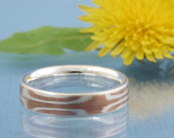 Men's ring silver copper Mokume Gane // handmade // starlet in metal // single piece // size 10