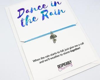 Dance in the rain friendship bracelet, wish bracelet, sympathy bracelet, sympathy card, Best friend gift, pet sympathy, leaving gift