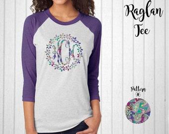 Monogram Shirt, Monogram Raglan Tee with Flower Border // Vera Bradlley Monogram T-Shirt in Pattern 96