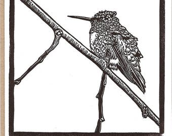 Ruby-throated hummingbird - Set of 5 Letterpress Printed Handmade Blank Stationery
