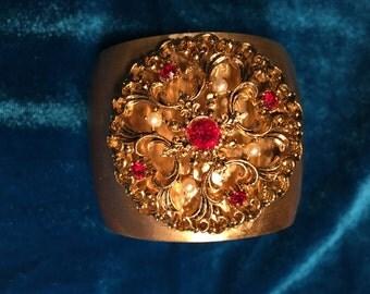 Art Nouveau-Meets-Art Deco Vintage Brooch Cuff Bracelet