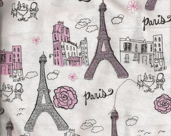 Valance Paris Eiffel Tower Pink and Silver Glitter/ Curtain Window Treatment White Background/ Girls Room