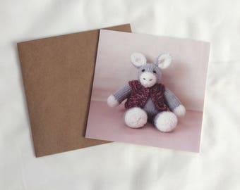 Birthday Card, Cute Knitted Donkey Birthday Card, Grey Donkey with Pink Cardigan Birthday Card, Card with a photo of a Knitted Donkey
