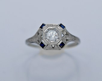 Antique Engagement Ring .25ct. Diamond, Sapphire & 18K White Gold Art Deco - J36237