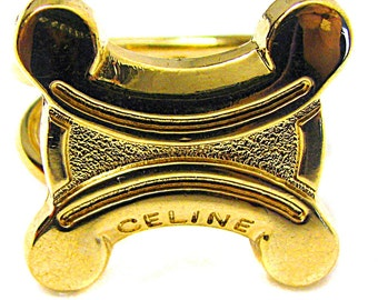 CELINE, ring scarf vintage gold metal