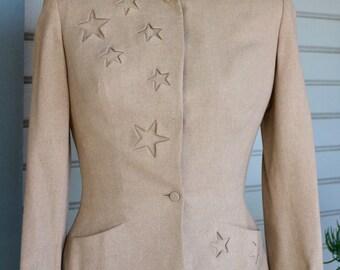 1940s Cashmere Skirt Suit ~EXCELLENT Condition~ Two Piece Women's Suit by Joseph Magnin : Beige 00-2 XXS - XS Regular ~ Can be let out!