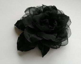 Handmade black satin flower brooch, flower  pin, embroidered flower