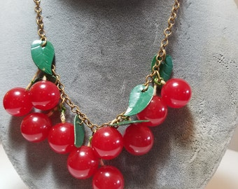 FREE  SHIPPING   Bakelite  Cherries  Necklace
