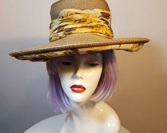 FREE  SHIPPING  1950 Wide Brim Panama Straw Hat