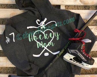 Hockey Mom Grandma etc hoodie sweatshirt laces customized MENS SIZING