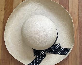 SALE/Vintage Wide Rim Straw Hat/Ann Talyor/Made in USA/summer/gift