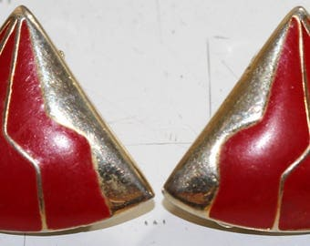 Retro Red Clip On Earrings