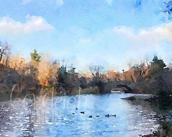 Watercolor Central Park Art Digital Photo