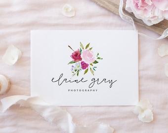 Premade Logo Design | Watercolor Floral Logo | Flower Logo | Photography Logo | Boutique Logo | Small Business Logo | PL-009