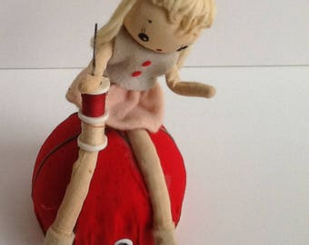Mid Century JAPAN Fancy Doll Pin Cushion & Sewing Notions Knickknack