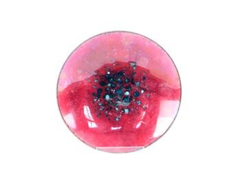 vintage enamel bowl 1960s decorative jewelry dish red blue