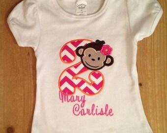 Pink and Orange Girly Monkey Embroidered Birthday Shirt or Baby Bodysuit