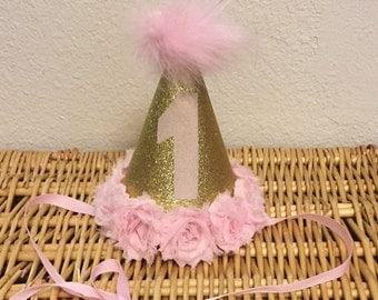 Pink and gold party hat