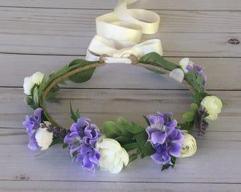 Purple Ivory Flower Crown, Lavender Flower Girl Flower Crown, Maternity Photo, Child Bridal Crown, Boho Flower Crown, Purple Bridal Shower