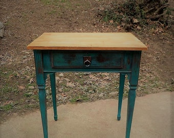 Teal Distressed Accent Table / Teal Distressed Nightstand / Teal Distressed Side Table / Vintage Sewing Table / Painted Table