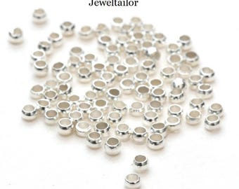 200 Shiny Silver Plated Round Crimp Beads 2mm ~ Jewellery Making Essentials
