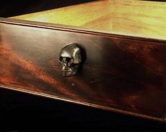 Skull Finger Drawer Pull Solid Brass