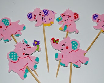 baby shower  its girl  pink elephant  cupcake toppers x 6