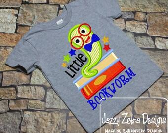 Little Bookworm appliqué embroidery design - bookworm appliqué design - teacher appliqué design - school appliqué design - books appliqué