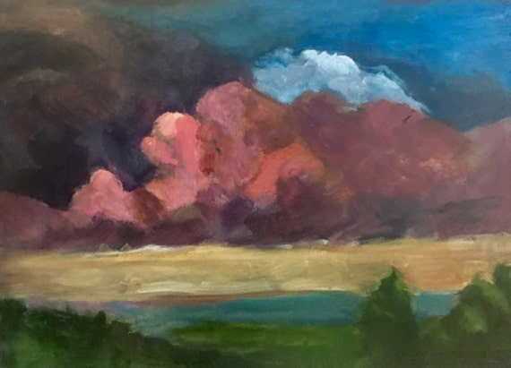 "Sorry- this piece is SOLD : Red Cloud Sunset, 12"" x 8"""