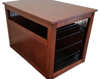 Medium Wire Crate With Partially Enclosed Side Wooden Cover For Dog. Puppy,  Or Cat