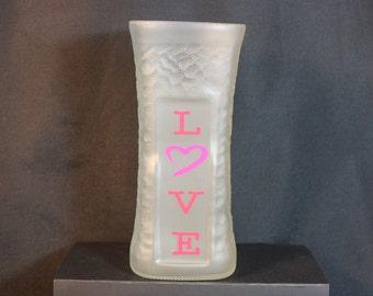 Flower Vase Upcycled from Liquor Bottle, Recycled Liquor Bottle, Handmade Vase, LOVE Vase