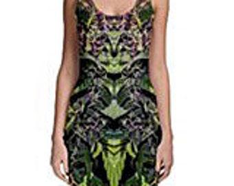 Body Con Dress, Ganja Dress, in a Purple Goo Marijuana Print with Black Background, Rave Dress, Festival Dress, Clubwear Dress MADE TO ORDER