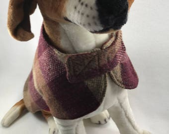 re-purposed-wool dog coat-dog-pet clothing-handmade-dog coat-pet-gift for dog lovers-upcycled-pet coat-wool-dog coat-one of a kind-green pet