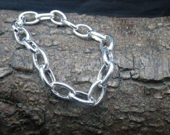 Sterling Silver Large Link Charm Bracelet Bangle
