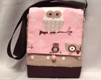 I Pad purse: Pink owl fabric iPad Bag with zipper front pocket and top closure, inside pocket and an adjustable strap