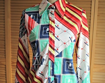 Personal. Division of Leslie Fay. Size 8/small. Vintage. 1960's. Red/blue/white/button/top. So cute!