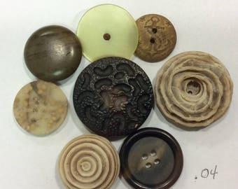 Lot of 8 Large  Buttons, Natural Looking, Some Hand Carved, Vegetable Ivory