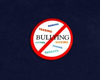 No Bullying Button Pin in a Bag (1 Pin - Retail) (RE-P-20-BUW)
