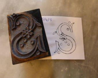 Medium S Monogram Initial, vintage French Printing Block Initial Letter Monogram Wood Rubber Stamp Initial, S