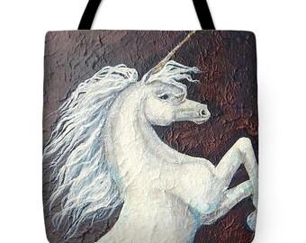 Unicorn tote bag, horse shopping bag,  white unicorn gift, original painting by Nancy Quiaoit at Nancys Fine Art.