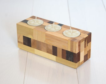wood candle holder tea light candle holder home decor reclaimed wood home