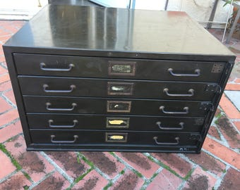 Vintage 5 Drawer Industrial Flat Metal File Cabinet