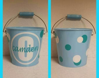 Custom Easter bucket initial and name with polka dots