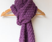 Super Chunky Hand Knit Scarf - Heather Purple - Wool/Alpaca - mens chunky scarf, womens chunky scarf, winter scarf